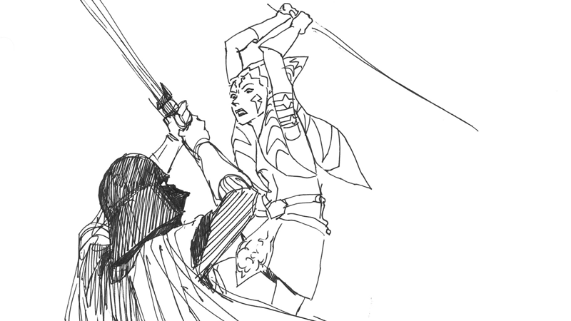 Illustration for article titled The Art That Inspired Ahsoka and Darth Vader's Epic Duel in Star Wars Rebels