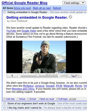 Illustration for article titled Google Reader embeds flash video
