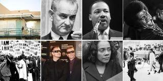 Clockwise, top left: Lorraine Motel; LBJ; MLK; James Brown; King funeral; Coretta Scott King; U2; Memphis strike