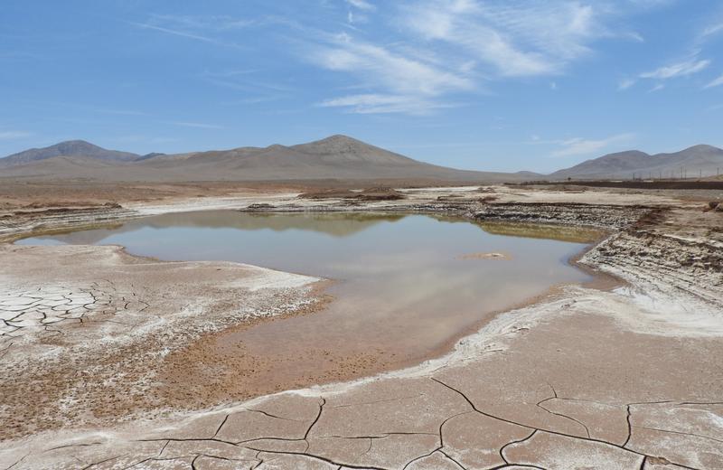 Lagos formados en el corazón del desierto de Atacama durante las lluvias.