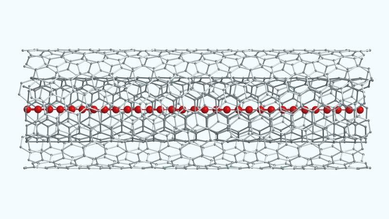 Una cadena de carbino confinada en un nanotubo de carbono de doble pared. Imagen: Lei Shi / Universidad de Viena