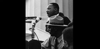 Martin Luther King Jr. addressing the audience at the March on Washington in 1963 (Wikimedia Commons)