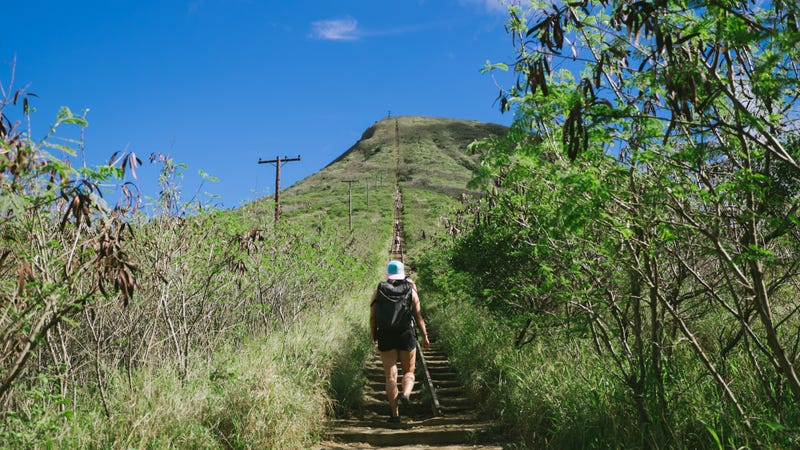 Me taking the long-ass stairs at Koko Head trail in O'ahu. Photo courtesy of Karen Hong Photography.