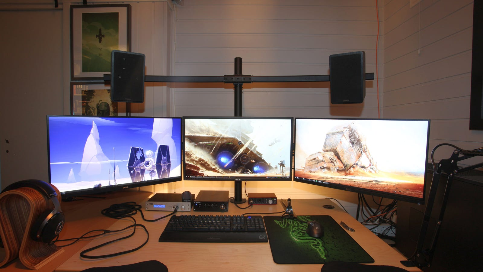 Home Office Dual Desk Setup: The Mounted Everything Workspace