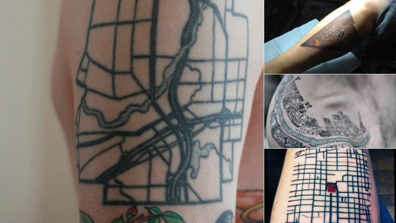 Illustration for article titled 11 Map Tattoos That Pay Tribute to Cities and Their Systems