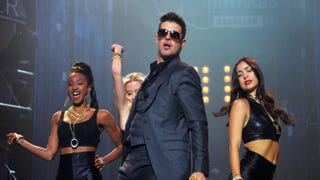 Singer Robin Thicke performs at the MTV VMAs Concert to Benefit LifeBeat, presented by MTV and Time Warner Cable at Terminal 5 in New York City on Aug. 23, 2013. Mike Coppola/Getty Images for MTV