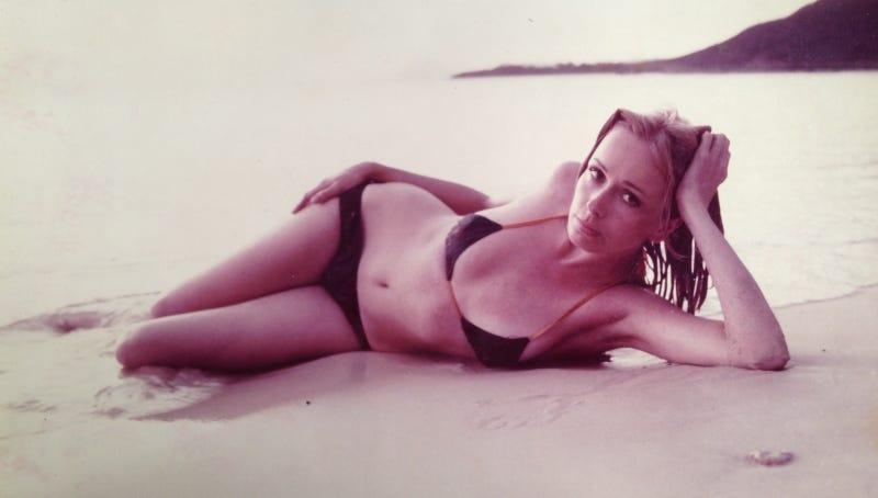 My mom on a beach.