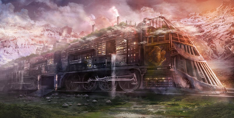Illustration for article titled Imagine a city built on the back of a monstrous train