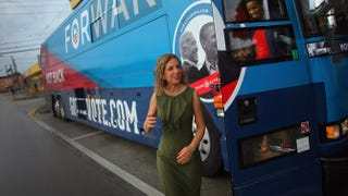 Democratic National Committee Chair Debbie Wasserman Schultz (D-Fla.) and Rep. Donna Edwards (D-Md.) exit the Democratic National Committee and Obama for America Gotta Vote Bus in the Little Havana neighborhood of Miami on Oct. 25, 2012.Joe Raedle/Getty Images
