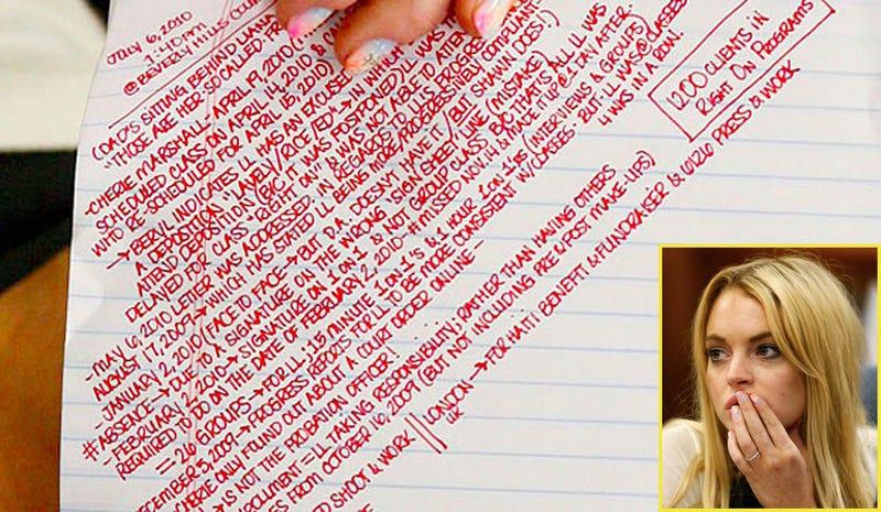 Illustration for article titled Read Lindsay Lohan's Impressive Courthouse Notes