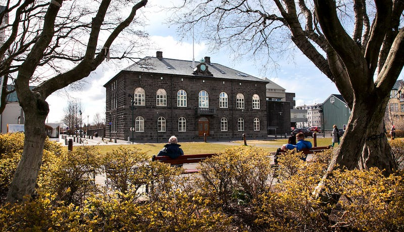 The Icelandic parliament building in Reykjavik, which was recently pelted with tubs of yogurt. (Image via Associated Press)