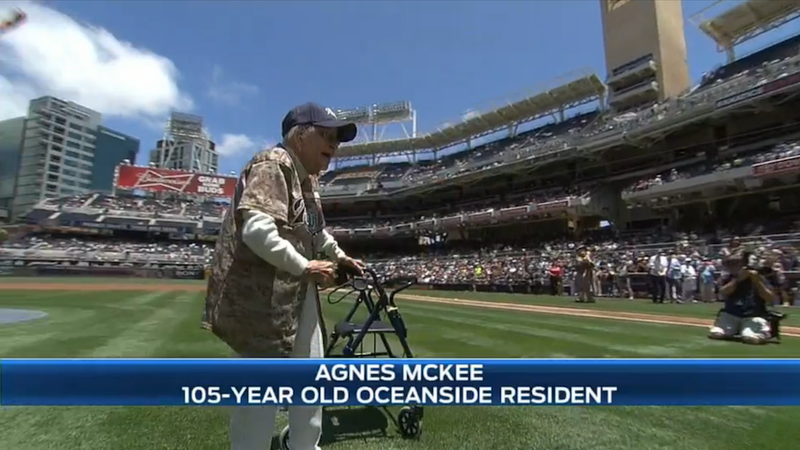 Illustration for article titled 105-year-old Woman Throws a Killer First Pitch at Padres Game