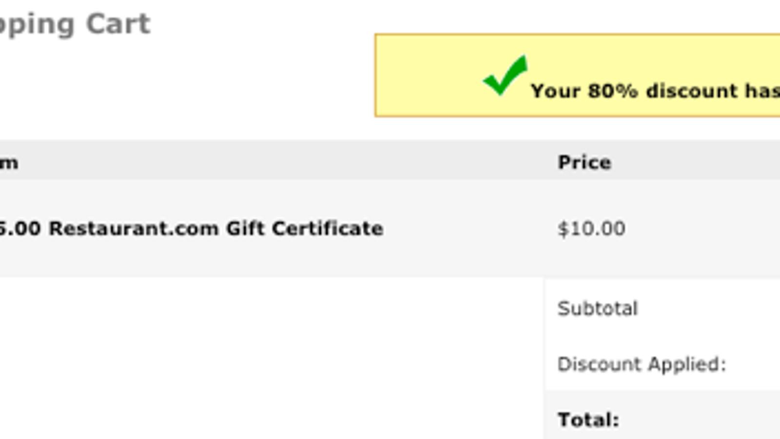 Buy $25 Restaurant Gift Cards for $2
