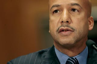 Then-New Orleans Mayor Ray Nagin testifies before the Senate Homeland Security and Governmental Affairs Committee during a hearing on Hurricane Katrina in Washington, D.C., Feb. 1, 2006.Chip Somodevilla/Getty Images