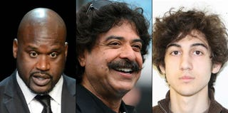 Diversity of American Muslims includes Shaquille O'Neal (Getty), Shahid Khan (Getty) and Dzhokhar Tsarnaev (FBI handout).
