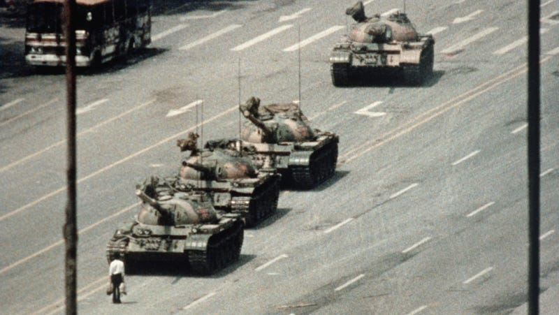 The unidentified man who famously stood in front of tanks in Tiananmen Square in the Beijing protests in 1989.