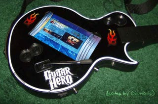 Illustration for article titled Guitar Hero III Guitar Modded with Magnetic Switch and Touch Screen