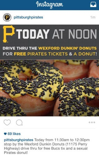 Illustration for article titled The Pittsburgh Pirates Would Like To Offer You A Sexual Donut