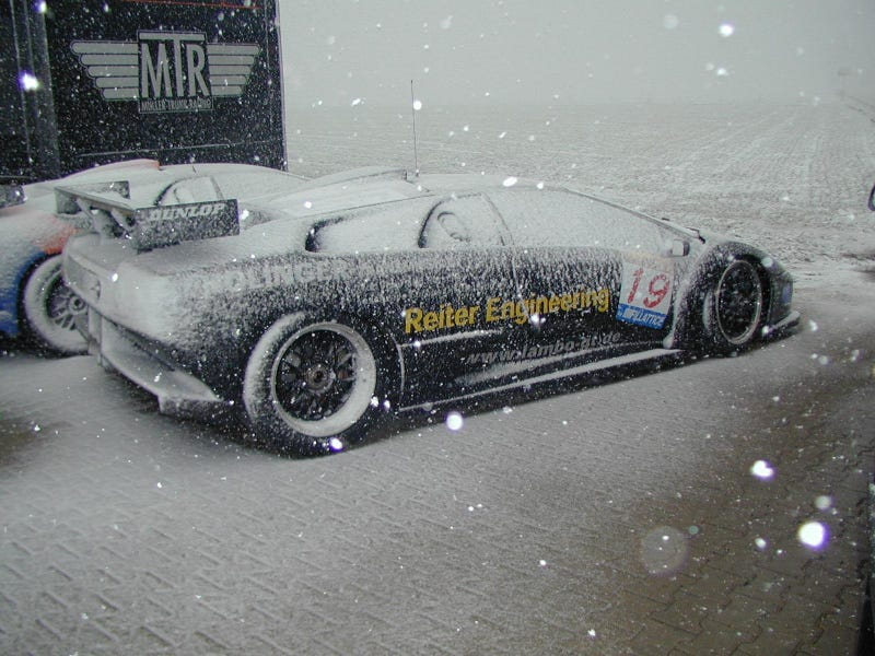 Illustration for article titled post supercars in the snow