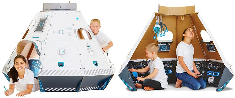 Illustration for article titled Upgrade Your Kid's Crude Fridge Box Fort to a Detailed Cardboard Spaceship