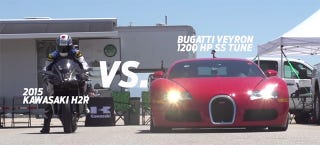 Illustration for article titled Of Course You Want To Watch The 300-HP Kawasaki H2R Race A Veyron