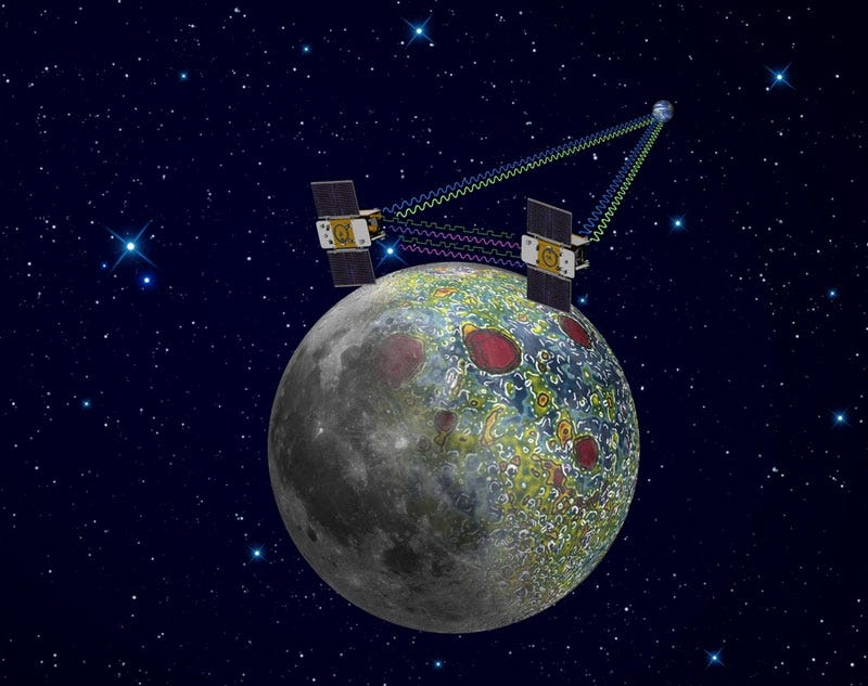 Illustration for article titled Twin NASA Probes Start Mapping Lunar Gravity
