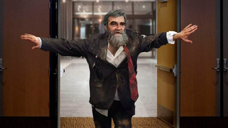 Illustration for article titled Dirty, Bearded Vince Foster Bursts Through Doors Of Clinton Fundraiser