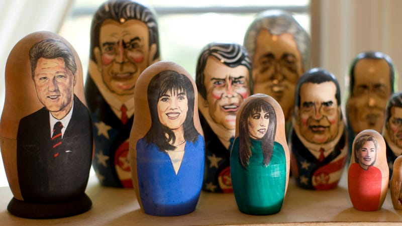 The Slow Burn podcast returns to chronicle the Bill Clinton impeachment saga. Pictured: Bill Clinton, Monica Lewinsky, Paula Jones, and Hillary Clinton nesting dolls.