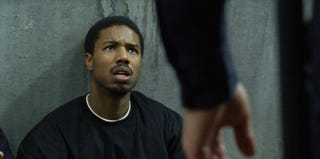 Michael B. Jordan as Oscar Grant moments before the unarmed man is shot and killed in Fruitvale Station (FruitvaleFilm.com)