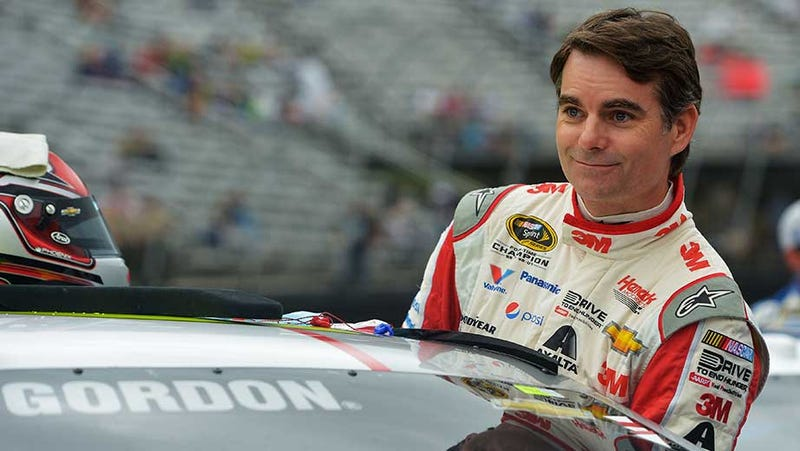 Illustration for article titled An Approximation of Jeff Gordon Listening to Dale Jr. in the Booth