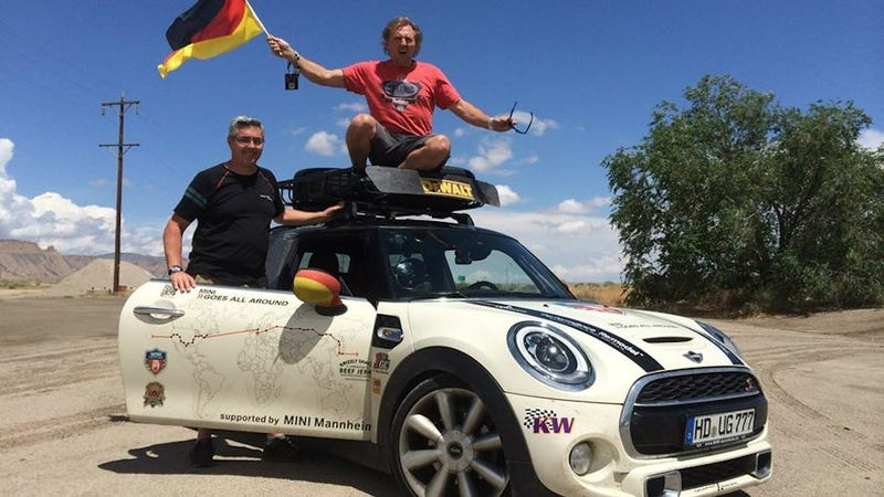 Illustration for article titled These two crazy Germans just drove a MINI Cooper AROUND THE WORLD