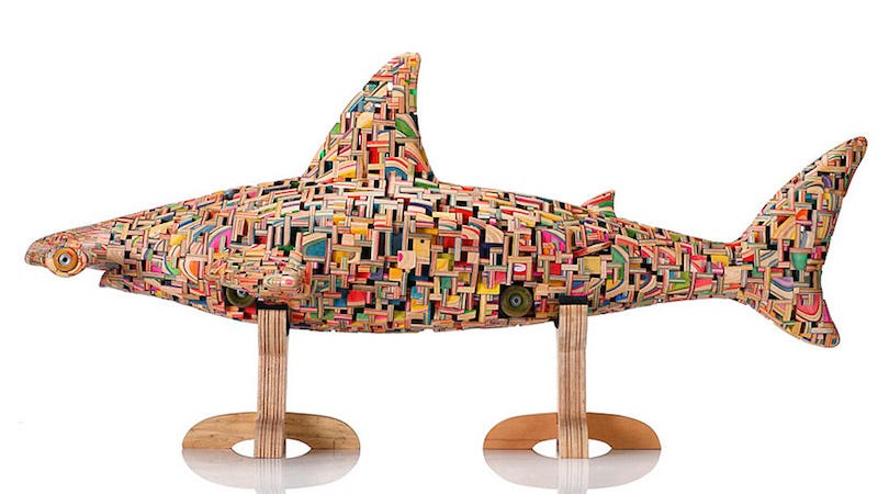 Illustration for article titled Sculptures Built From Skateboards And Made Like Japan's Buddha Statues