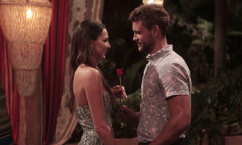 Two-time Bachelorette contestant and one-time Bachelor in Paradise contestant Nick Viall with a woman he will very likely not end up with. Image via ABC.