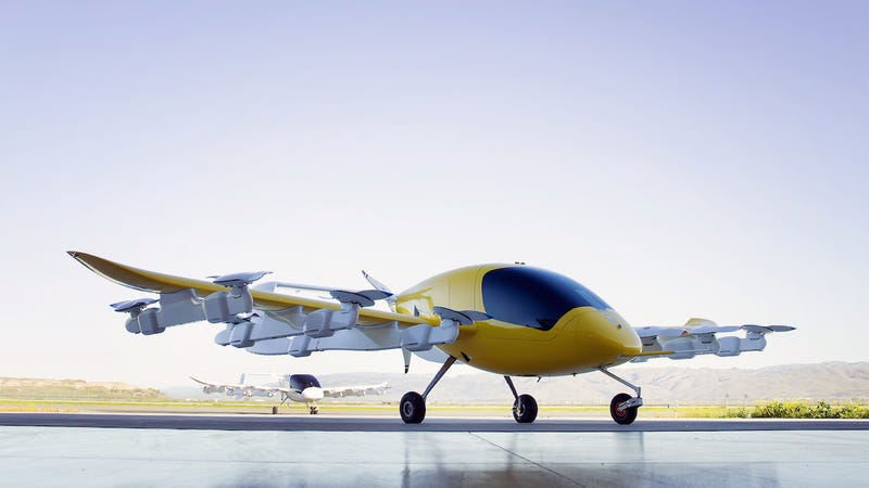 Cora, an electric-powered flying taxi designed and built by the Kitty Hawk company of Mountain View, California, pictured in a company-released promo shot