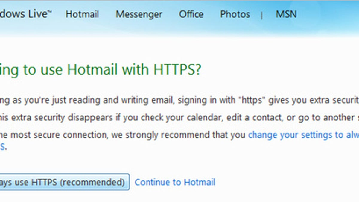 hotmail adds always on secure https connection option