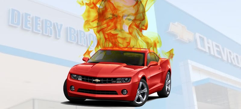 Illustration for article titled Drunk Car Dealership Manager Wrecks Camaro Into Flaming Mess And Bolts