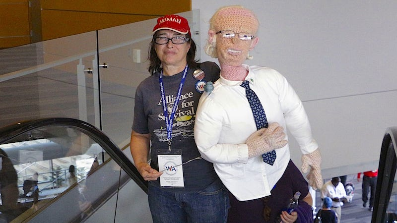 Illustration for article titled Saturday Night Social: Hosted By a Life-Size Crochet Doll of Bernie Sanders and His Date