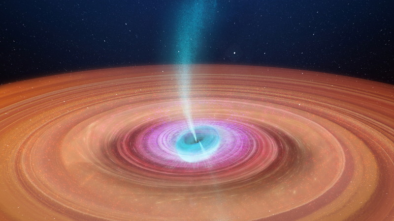 An artist's impression of V404 Cygni rotating off-axis from the disk of material that surrounds it.