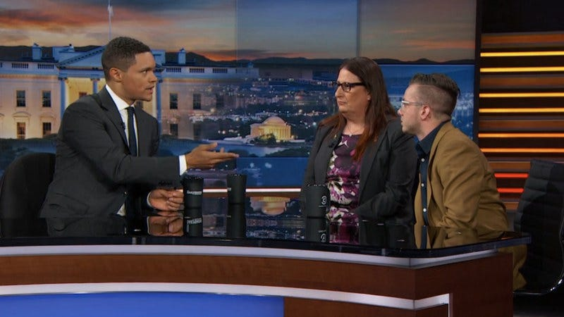 Trevor Noah, Army veterans Jennifer Marie Long and Joey Whimple (Screenshot: Comedy Central)