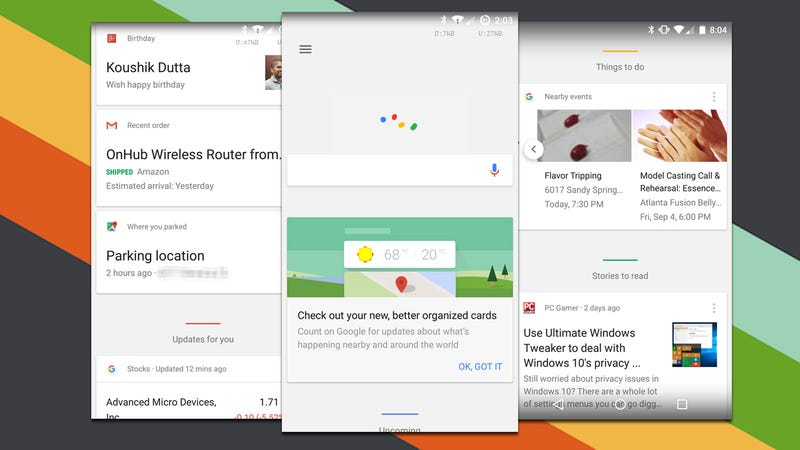 Illustration for article titled Google Now Update Brings Better Card Organization, Smarter News Suggesions
