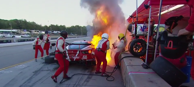 Illustration for article titled Ferrari Team Puts Out Pit Lane Fire, Sends Charred 488 Back Out To Race Like It's No Big Deal