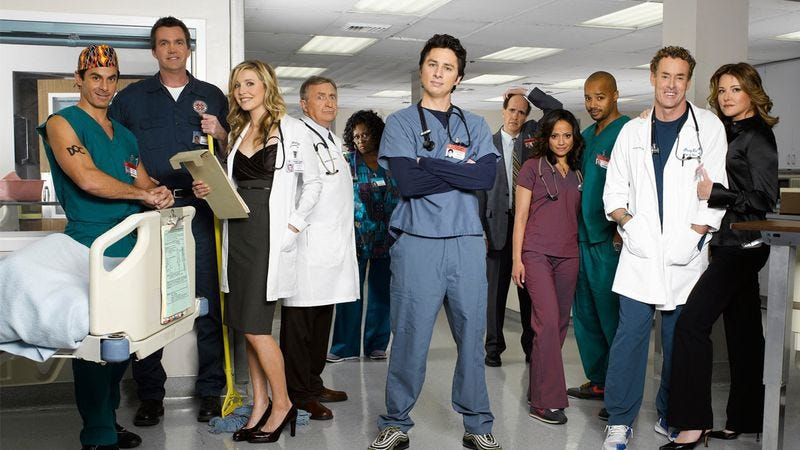 Illustration for article titled Scrubs was goofy, profound, and a key link in the evolution of TV comedy