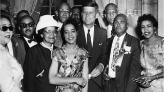 Then-Democratic presidential nominee John F. Kennedy with delegates at the Democratic National Convention in Los Angeles in 1960.Robert Abbott Sengstacke/Getty Images
