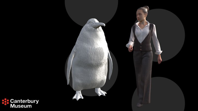 A model of the penguin and a person, having a discussion about business or something.