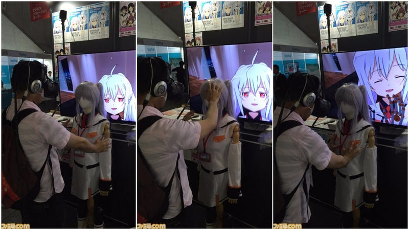 [Interacting with the VR demo on the Tokyo Game Show floor. Image taken by Famitsu | Mixed by Kotaku]