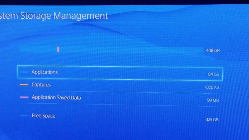 Illustration for article titled A 500GB PlayStation 4 Will Give You About 400GB of Storage