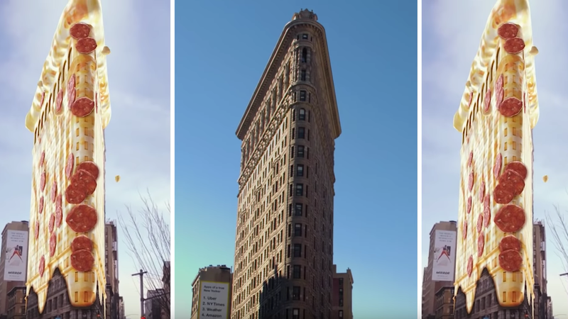 With the Landmarkers AR feature, you can turn the Flatiron Building into a pizza.