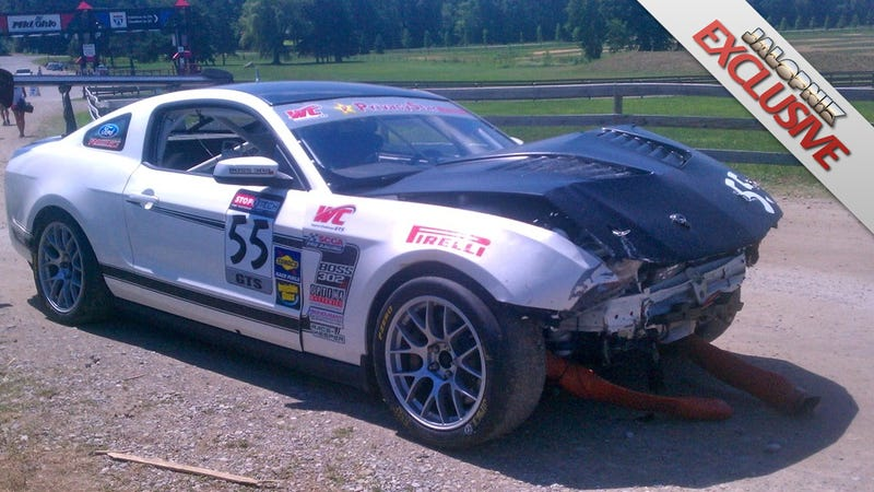Illustration for article titled Mustang Boss 302S with VIN 001 crashes on the track