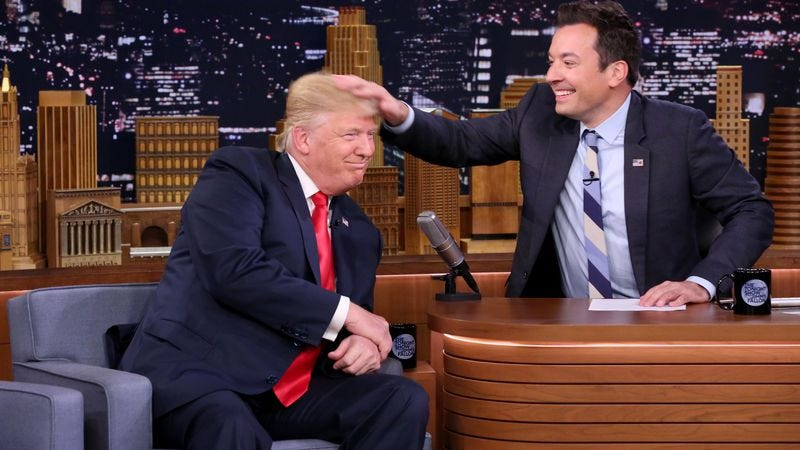 Jimmy Fallon rubs Donald Trump's head to completion on The Tonight Show. (Photo: Andrew Lipovsky/NBC/NBCU Photo Bank via Getty Images)