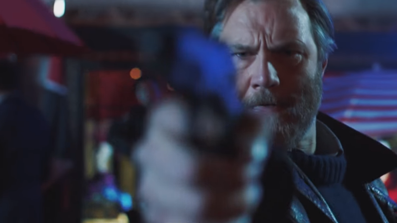 David Morrisey wielding a very out-of-focus pistol as Tyador Borlú in The City and The City.